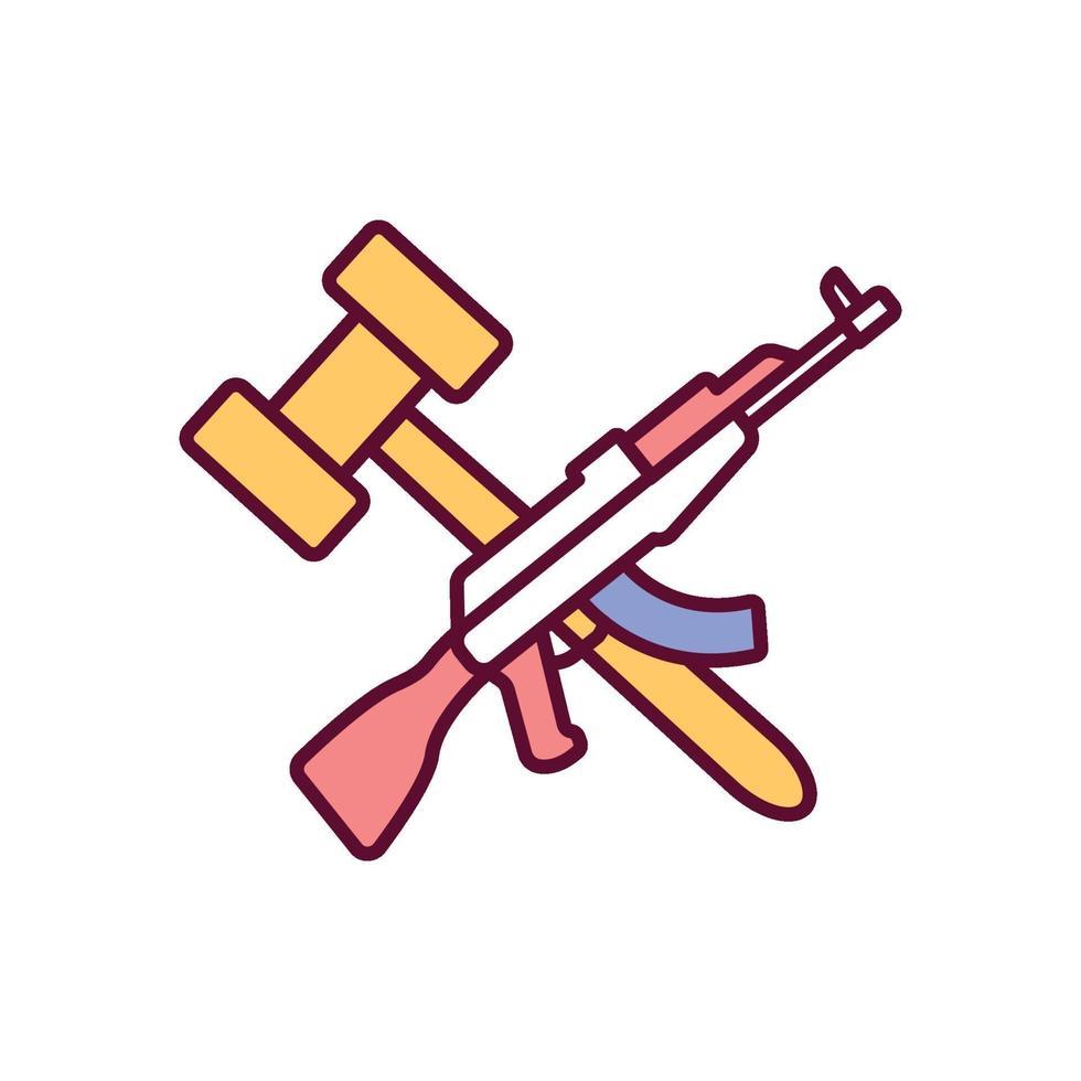ícones de cores rgb de controle de armas vetor