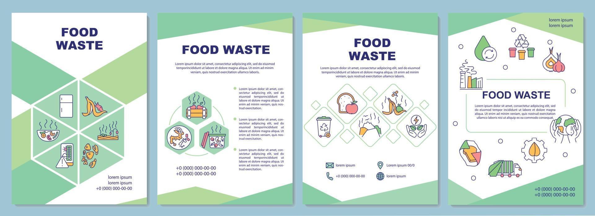 modelo de folheto de resíduos de alimentos vetor