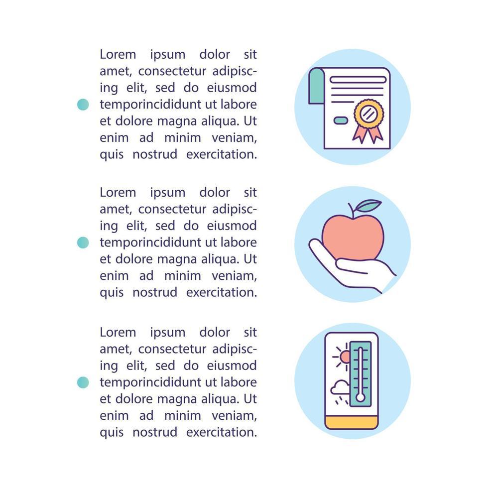 ícone de conceito de armazenamento de alimentos cuidadoso com texto vetor