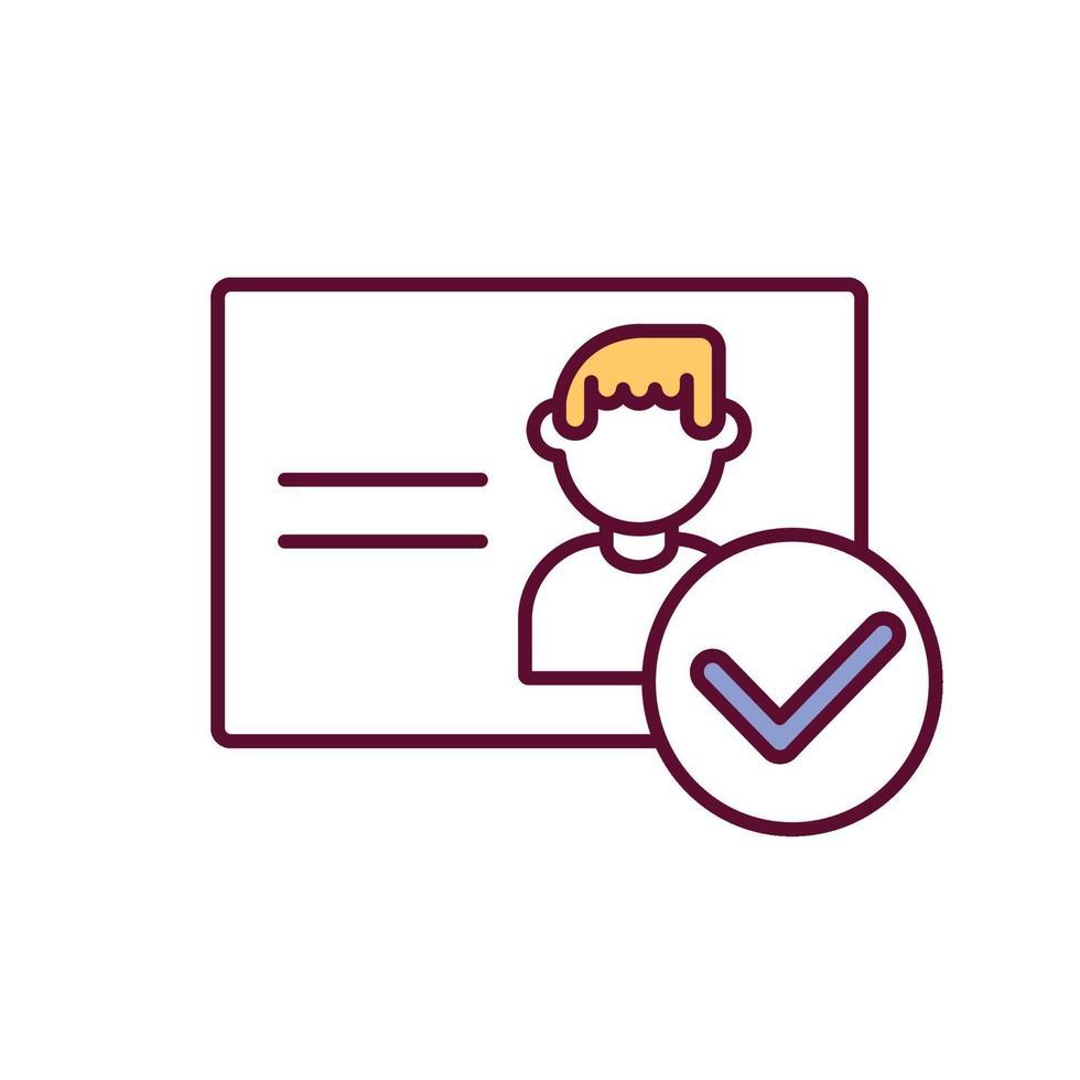 ícone de cor rgb de verificação de documento pessoal vetor