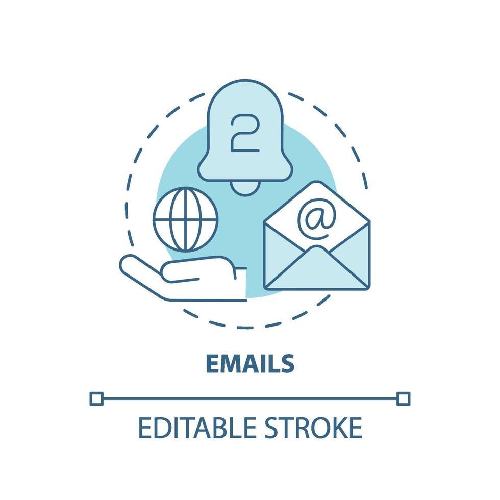 ícone do conceito de e-mails vetor