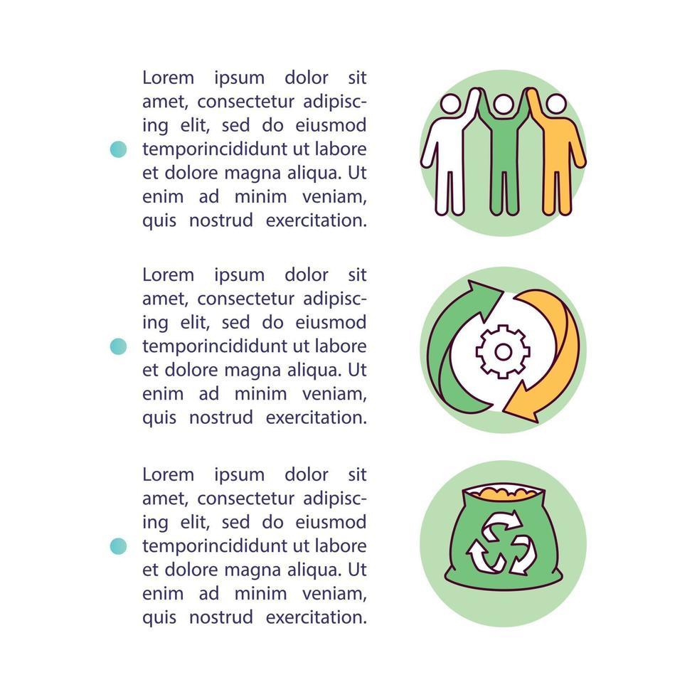 ícone do conceito de iniciativas de reciclagem de orgânicos com texto vetor