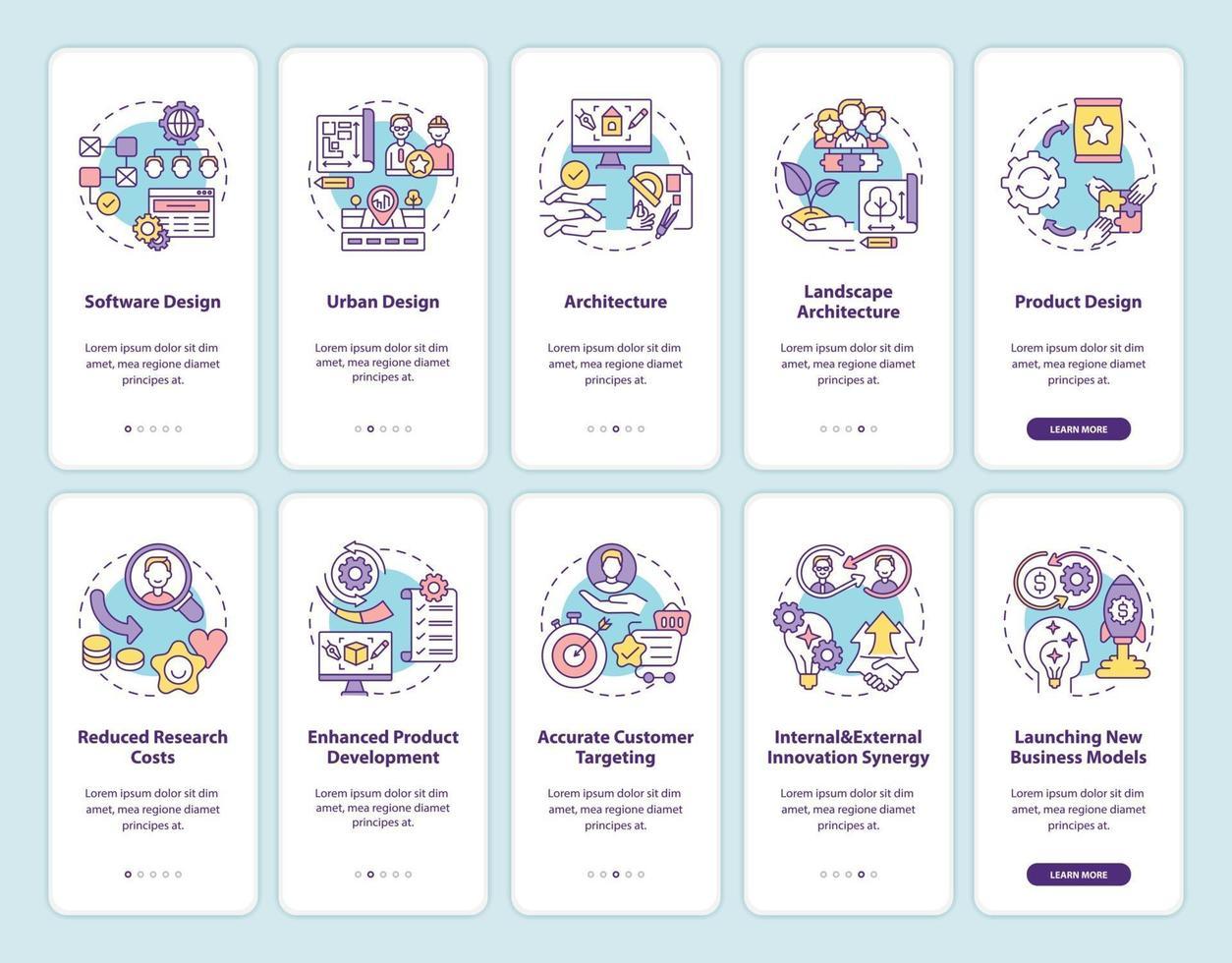 tela de página de aplicativo móvel de integração de desenvolvimento de produto colaborativo com conjunto de conceitos vetor