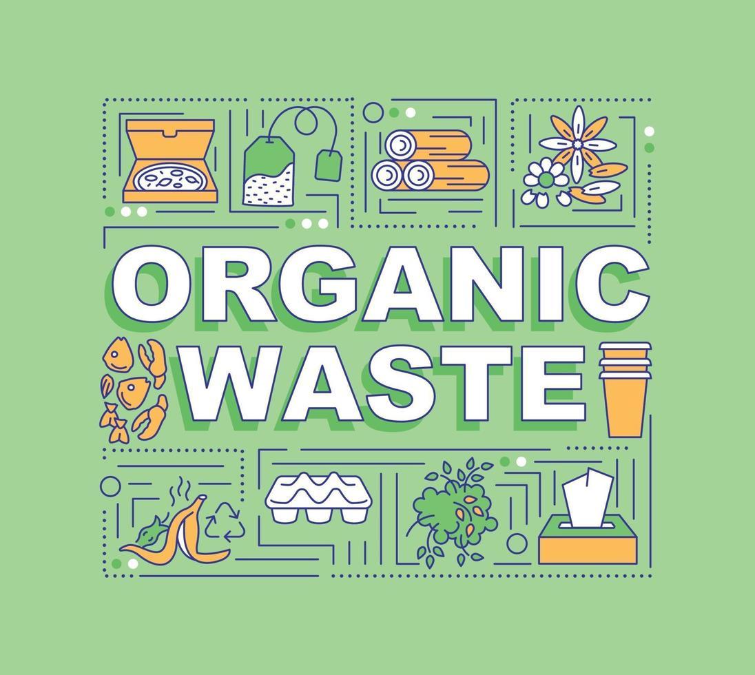 banner de conceitos de palavras de resíduos orgânicos vetor