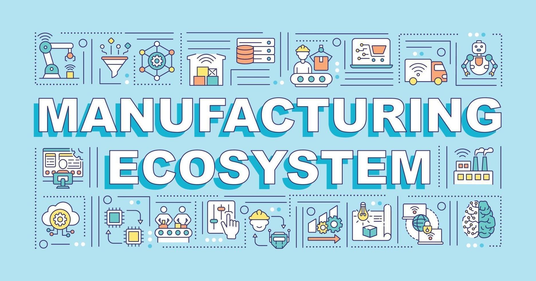 banner de conceitos de palavras de ecossistema de manufatura vetor