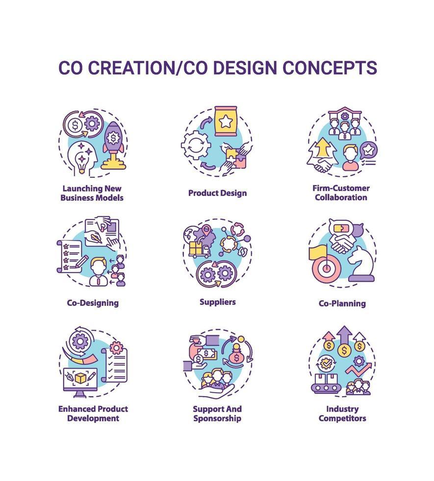 conjunto de ícones de conceito de co-criação vetor