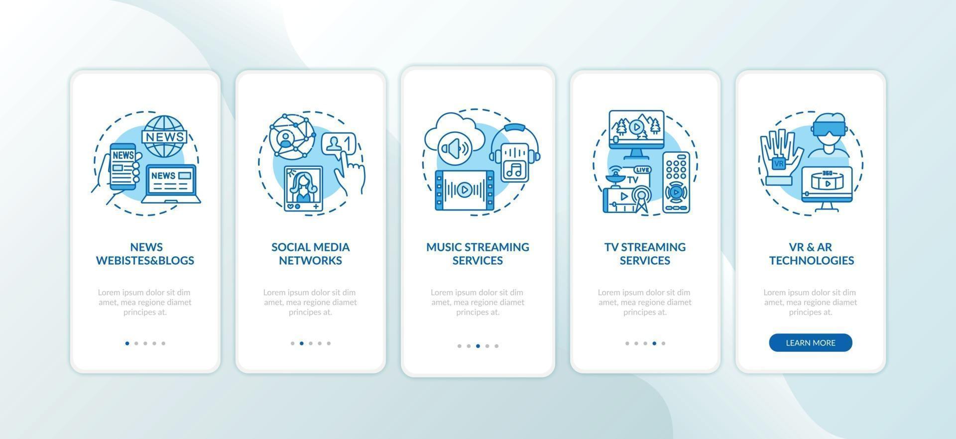novos tipos de mídia integrando a tela da página do aplicativo móvel com conceitos vetor
