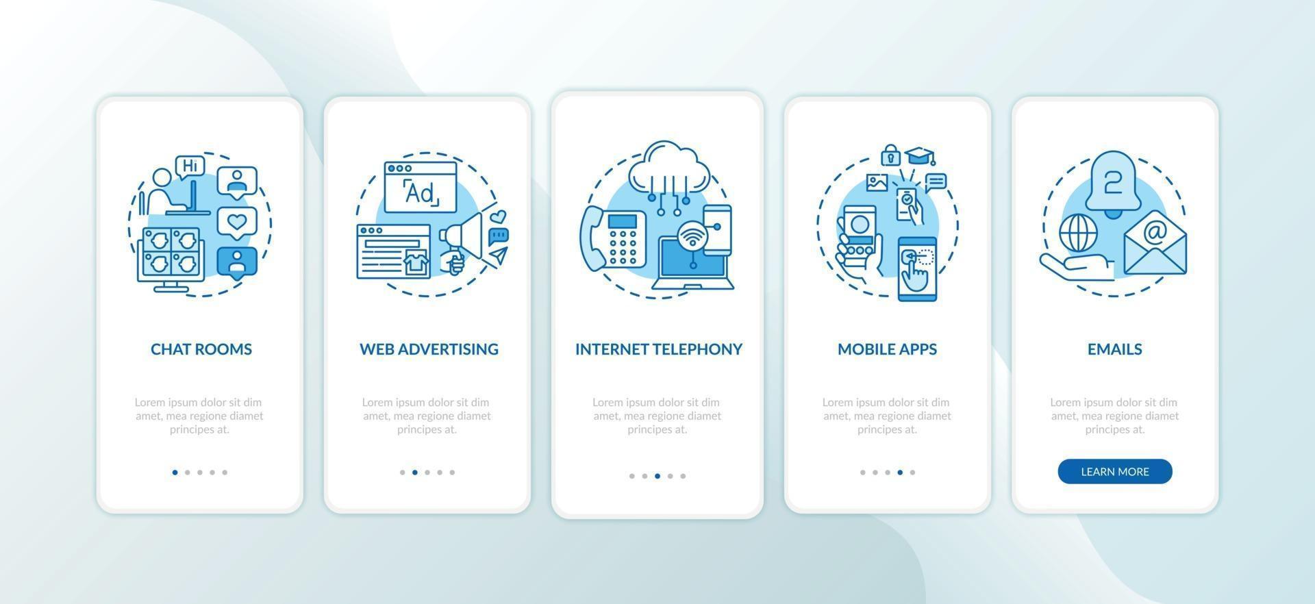 novos tipos de mídia na tela da página do aplicativo móvel com conceitos vetor