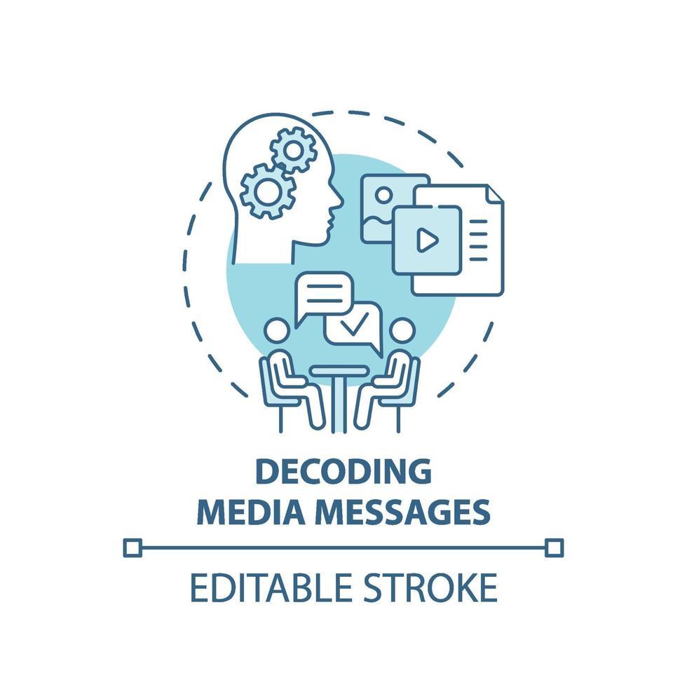 ícone do conceito de decodificação de mensagens de mídia vetor