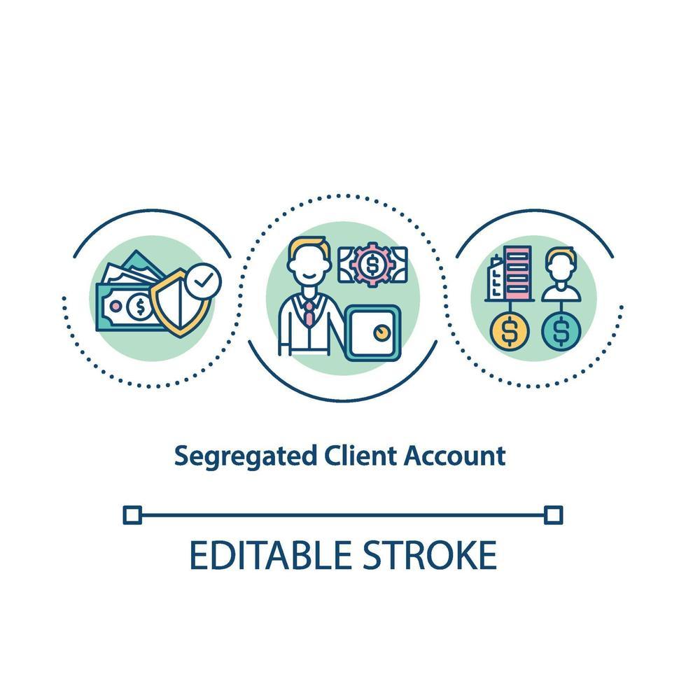 ícone de conceito de conta de cliente segregada vetor