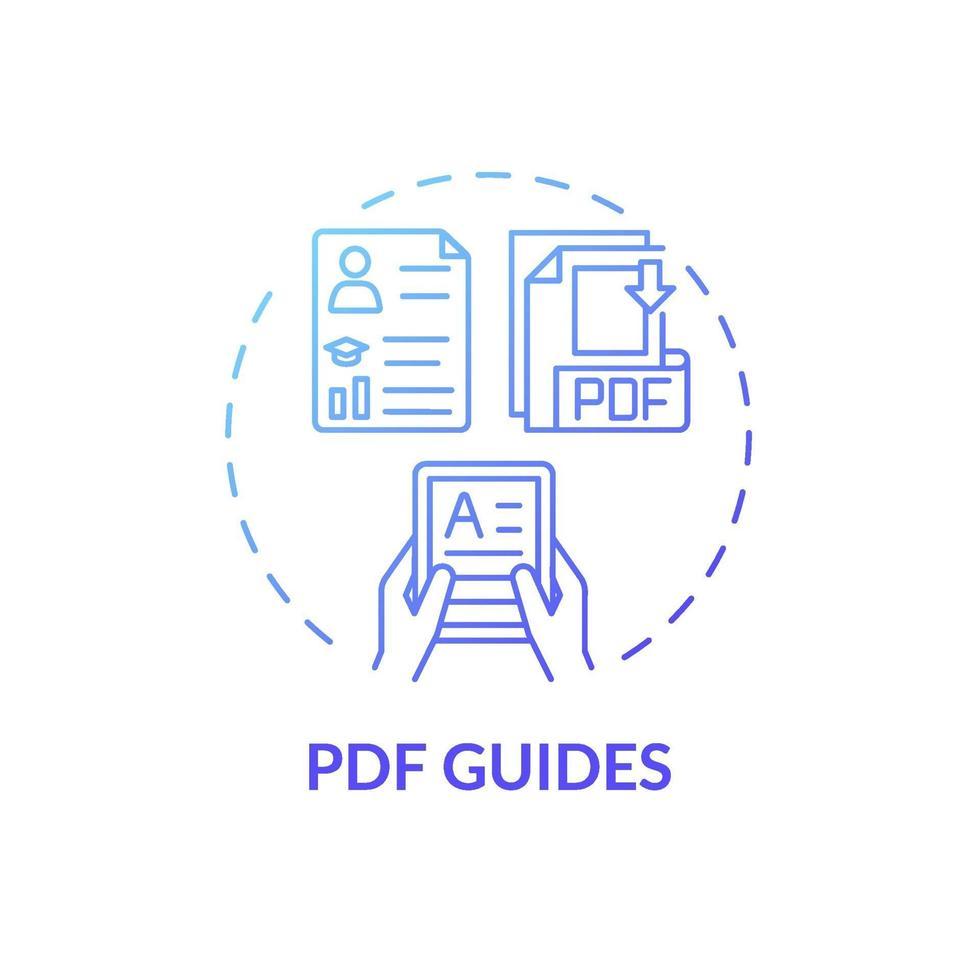 ícone do conceito de guias em pdf vetor