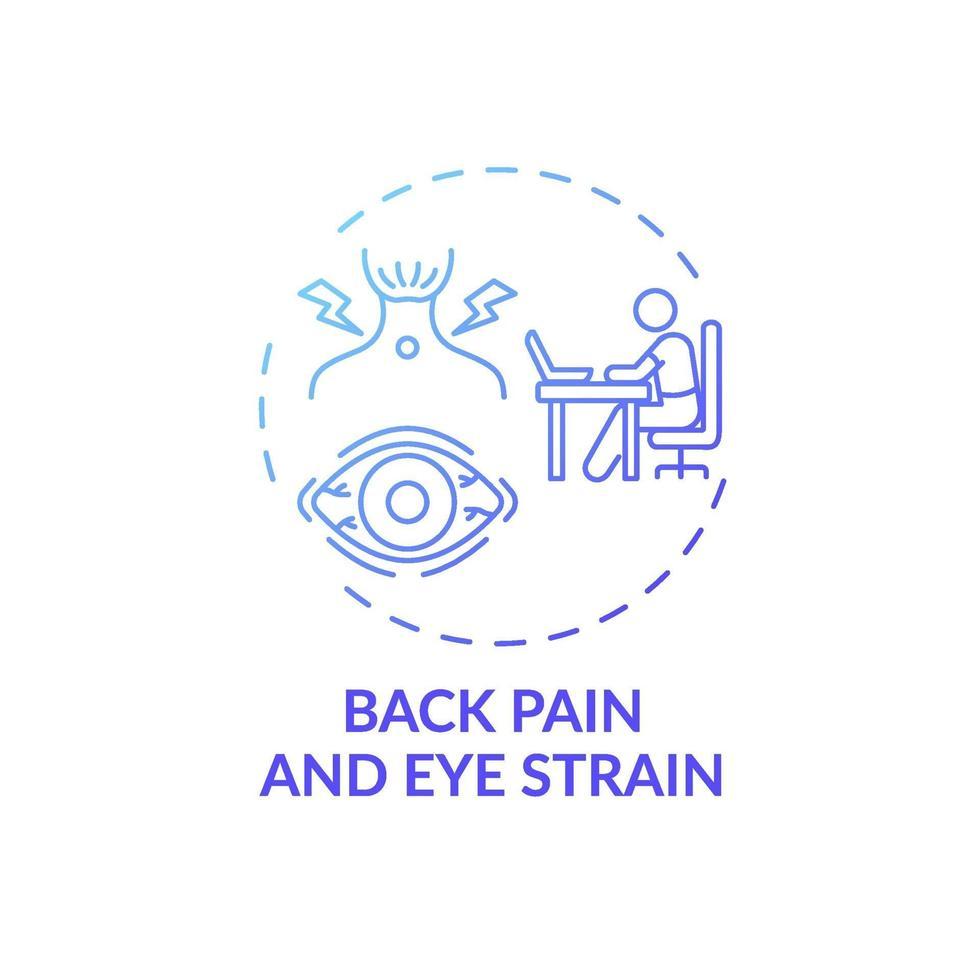 ícone do conceito de dor nas costas e tensão ocular vetor