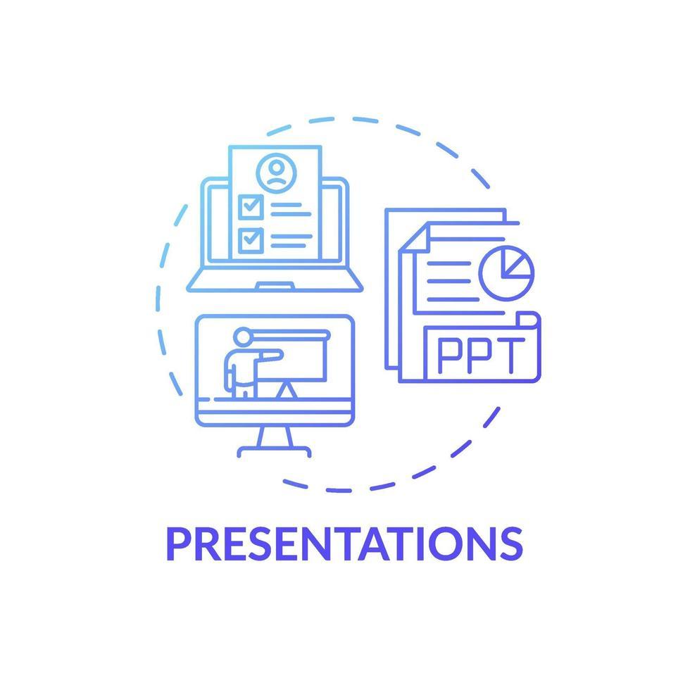 ícone do conceito de apresentações vetor