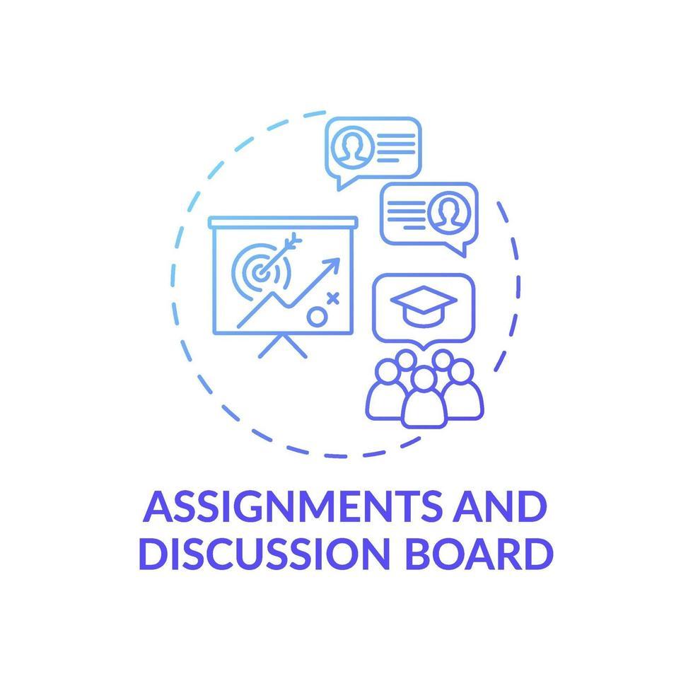 atribuições e ícone do conceito de quadro de discussão vetor