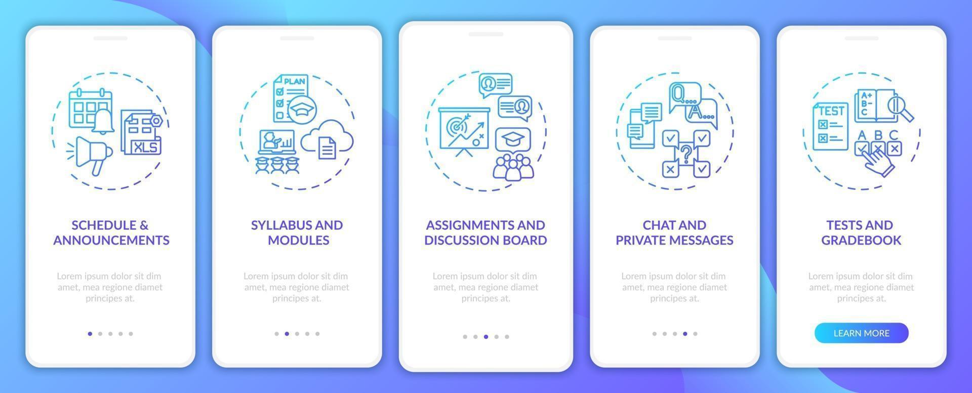 tela de página de aplicativo móvel de integração de sistema de gerenciamento de curso online com conceitos vetor