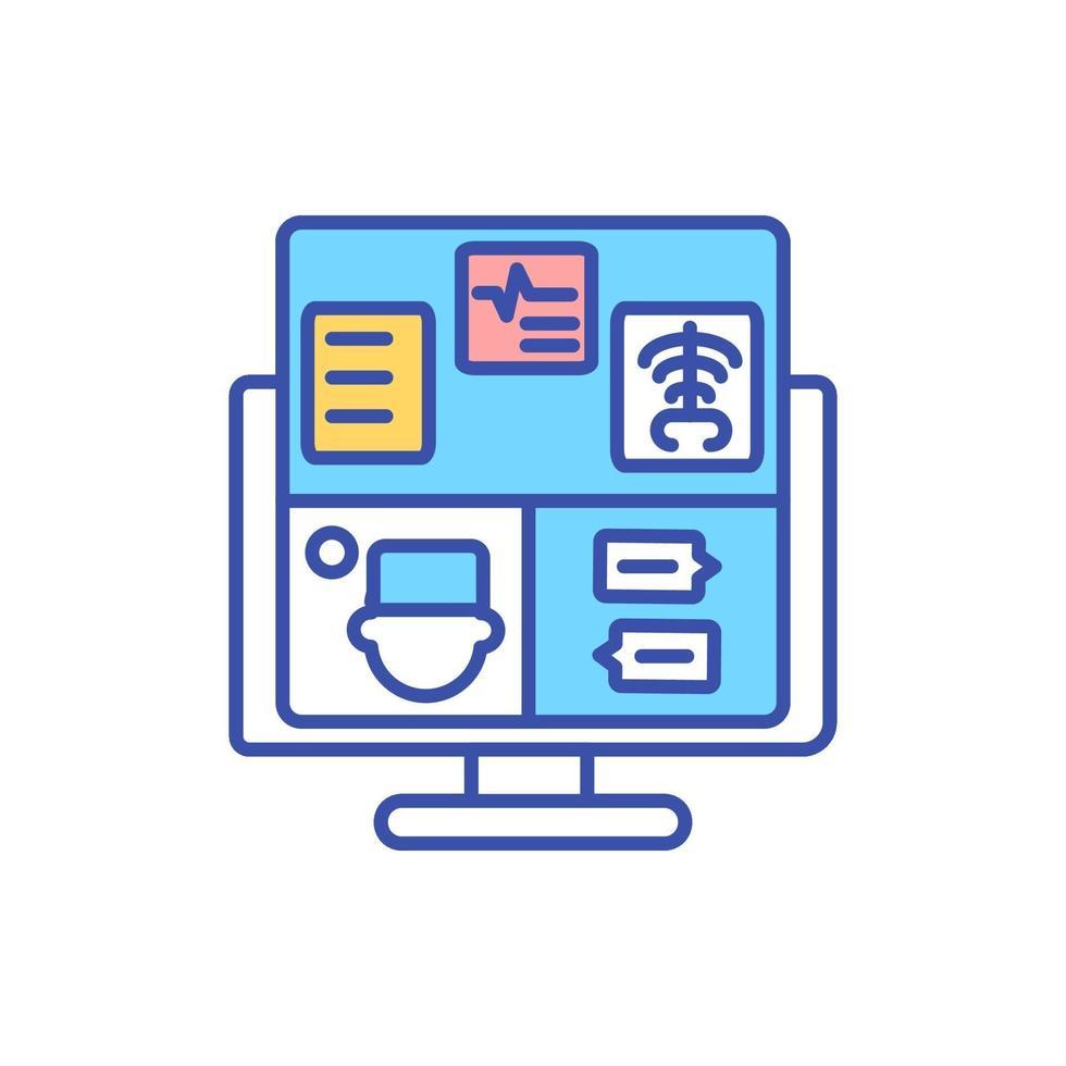 ícone de cor rgb de monitoramento eletrônico de pacientes vetor