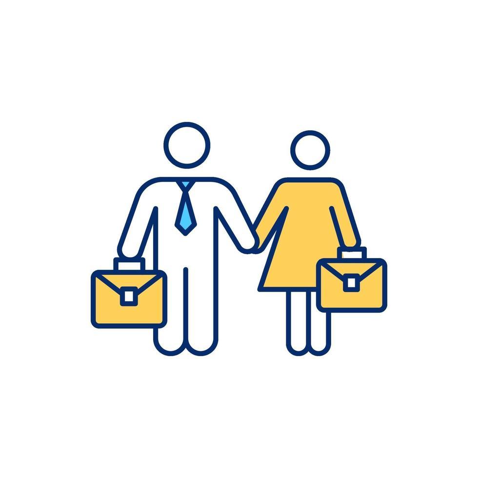 igualdade de gênero no local de trabalho ícone de cor rgb vetor