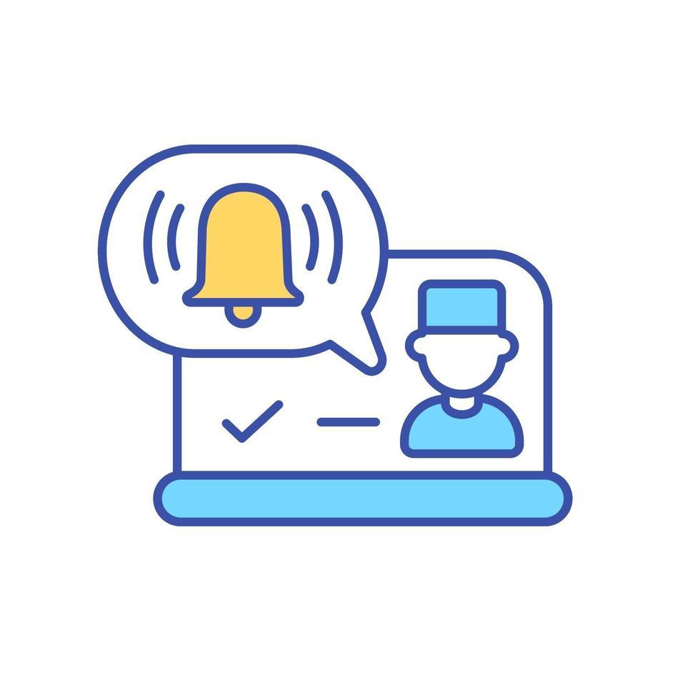 reunião virtual com médico ícone de cor rgb vetor