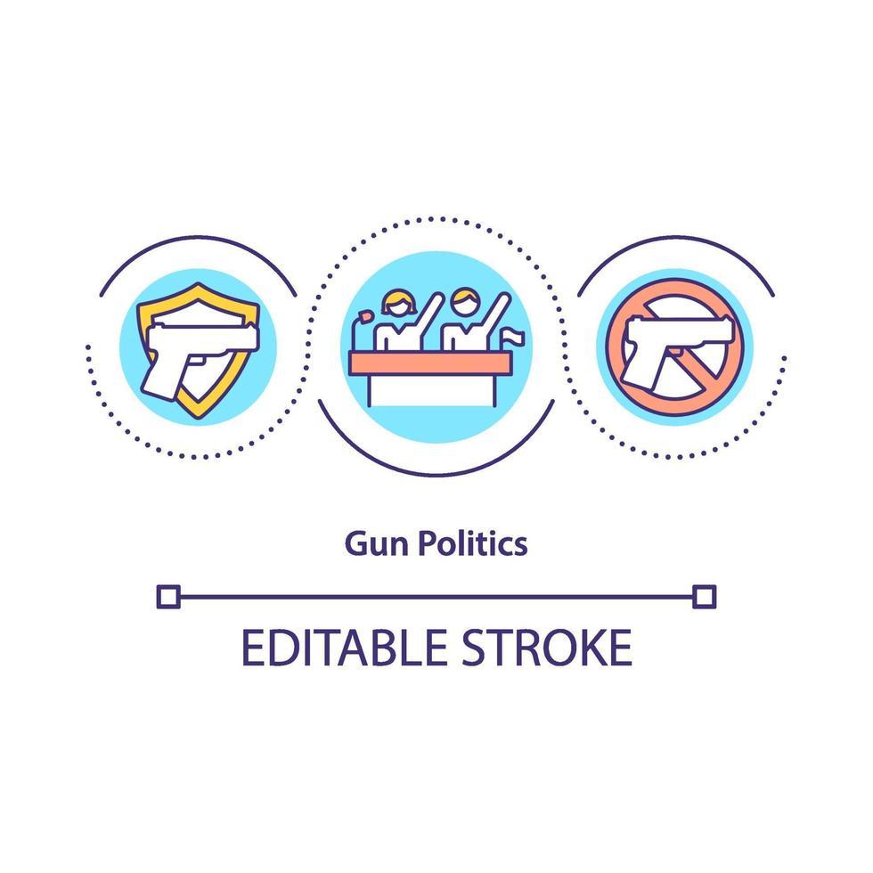 ícone do conceito de política de armas vetor