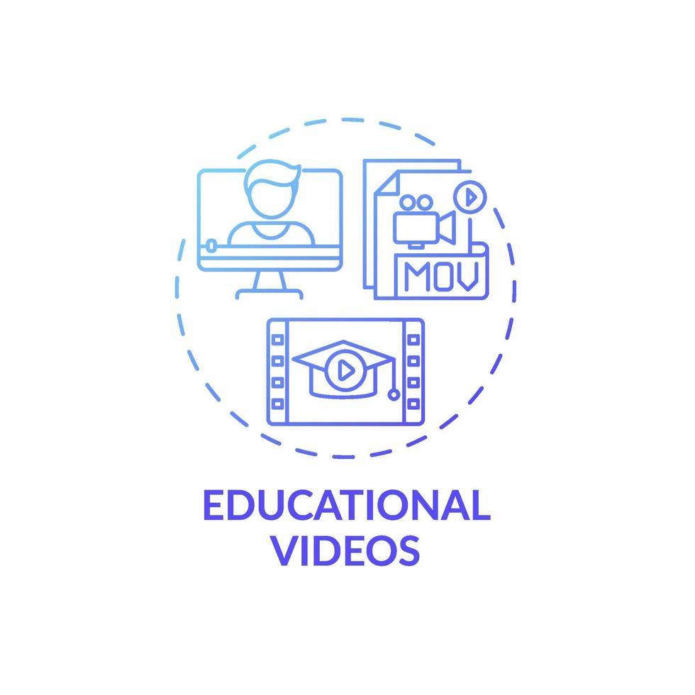 ícone do conceito de vídeos educacionais vetor