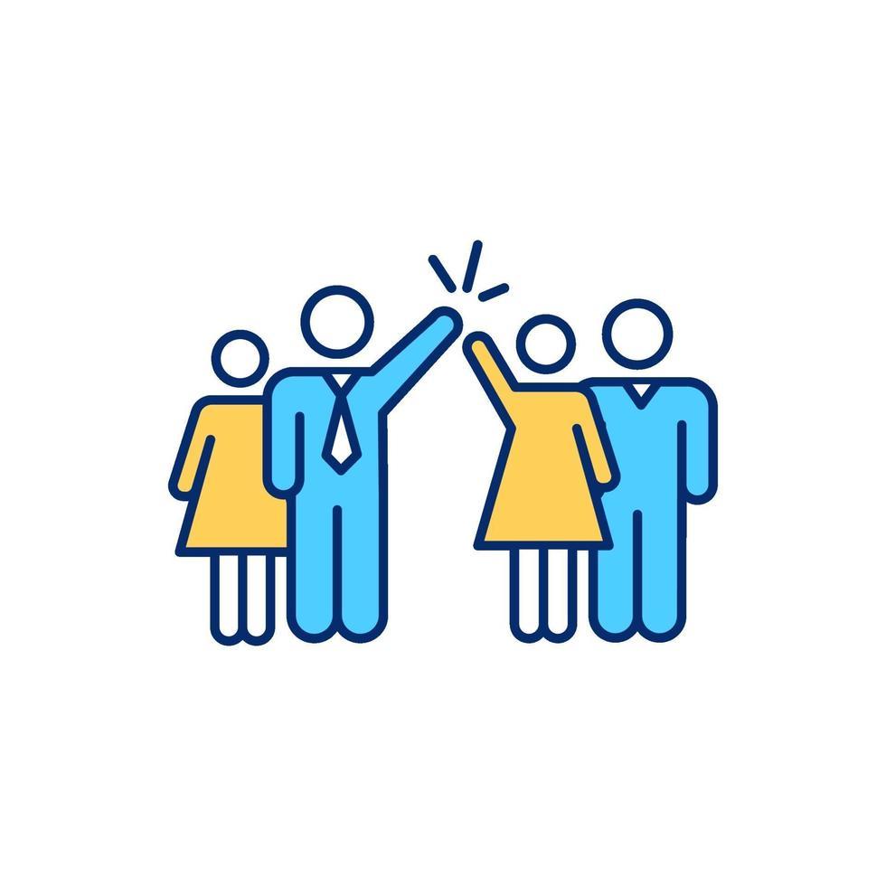 equipe de trabalho diversificada com ícone de cor rgb masculino e feminino vetor