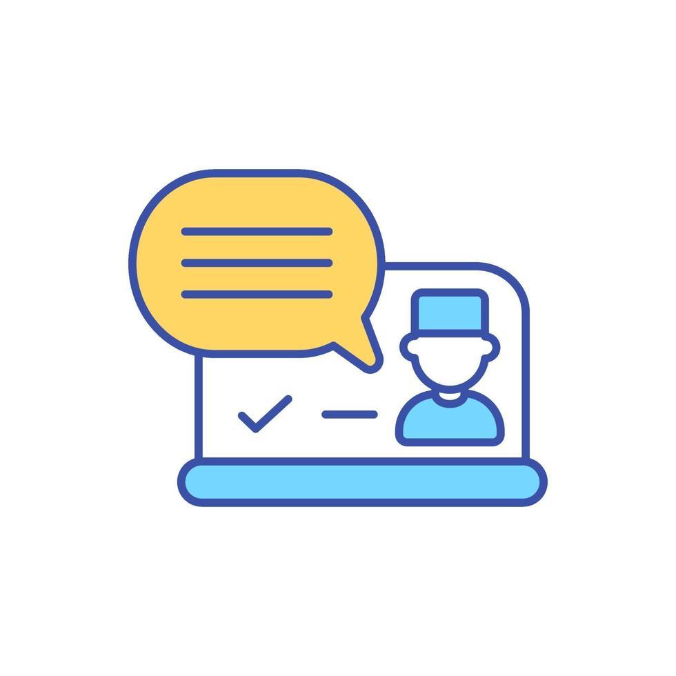comunicação online com o médico ícone de cor rgb vetor