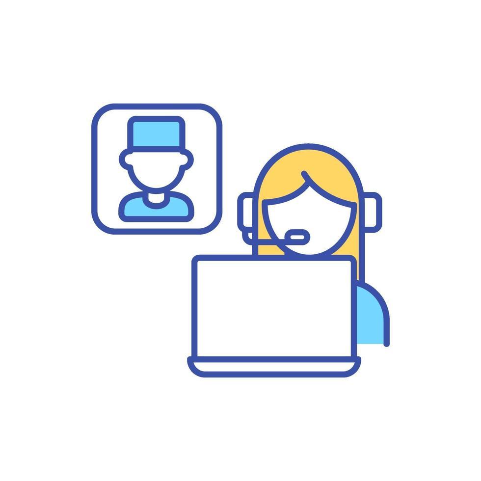 encontro virtual entre paciente e médico ícone de cor rgb vetor