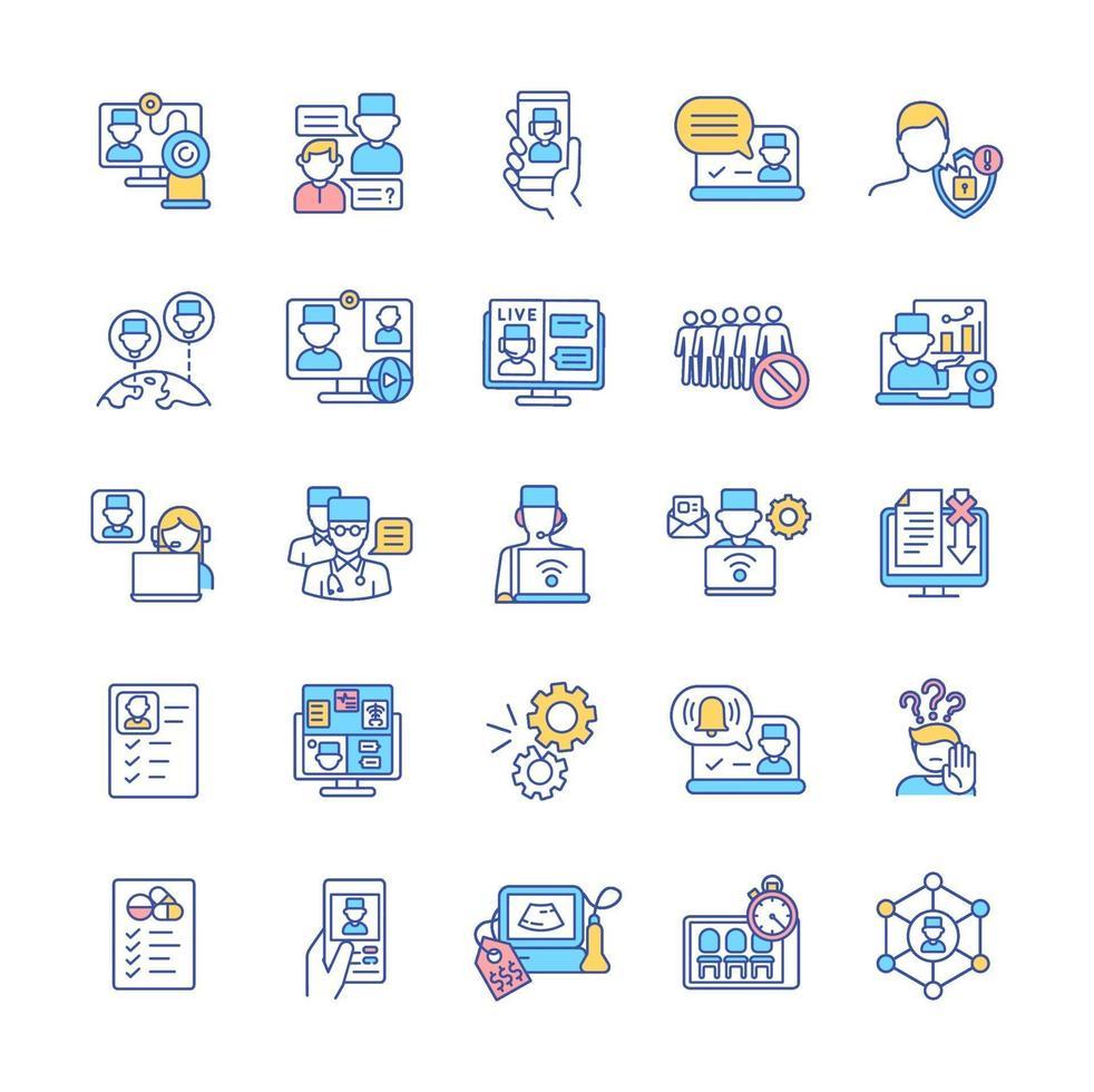 conjunto de ícones de cores rgb telemedicina vetor