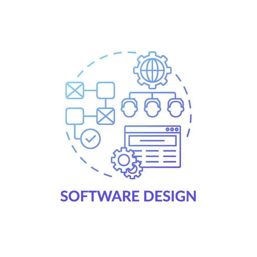 ícone de conceito de design de software vetor