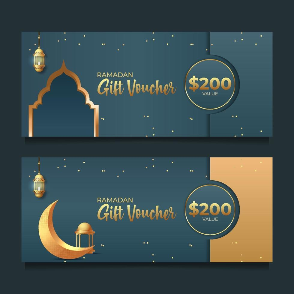 voucher de presente ramadan com estilo dourado vetor