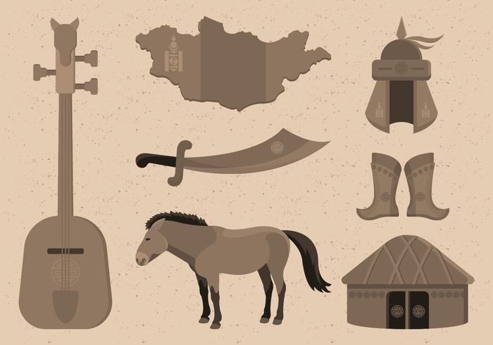 Ilustração vetorial de coleção de item mongol vetor