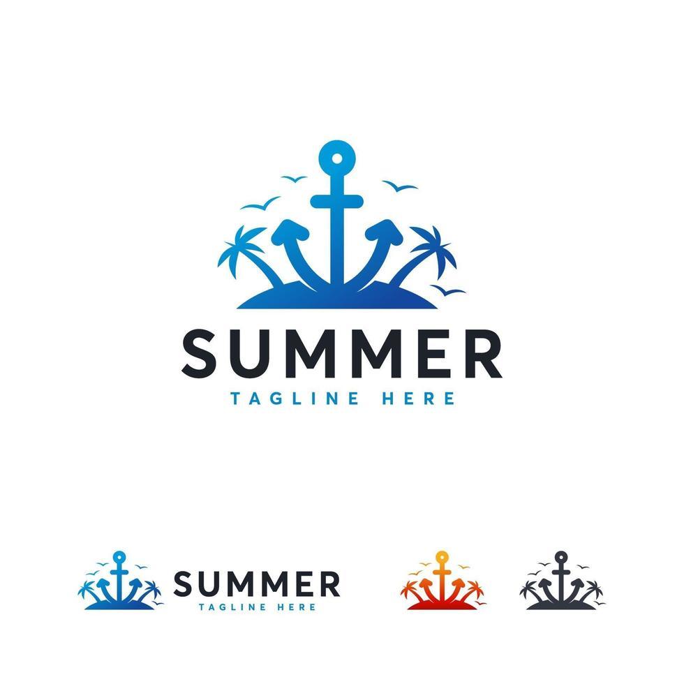 logotipo de verão com achor na ilha, conceito de design de logotipo para viagens vetor