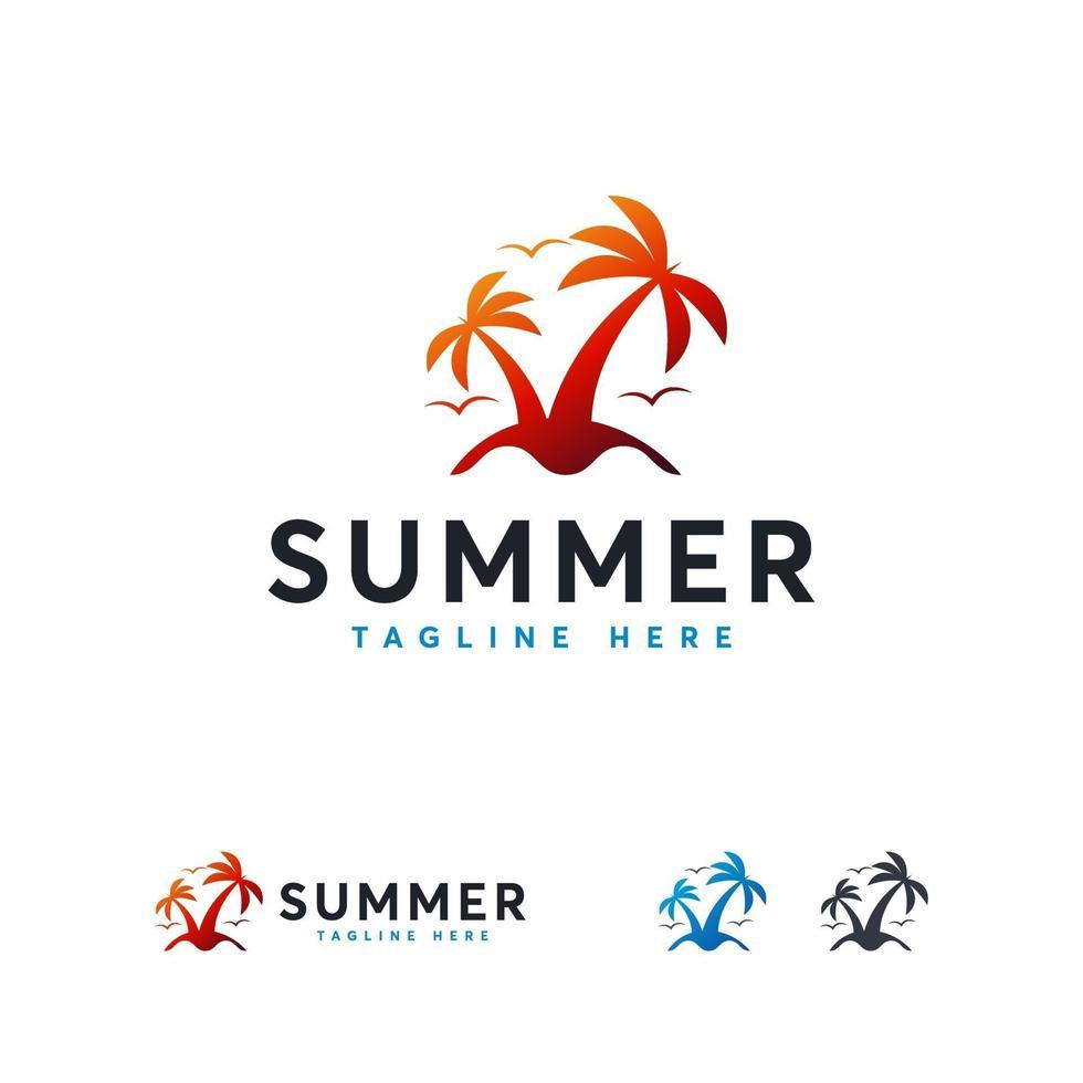 logotipo de verão na ilha, conceito de design de logotipo para viagens vetor