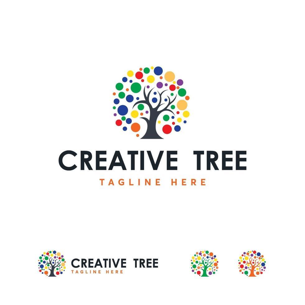 vetor de conceito de projetos de logotipo de árvore colorida criativa,