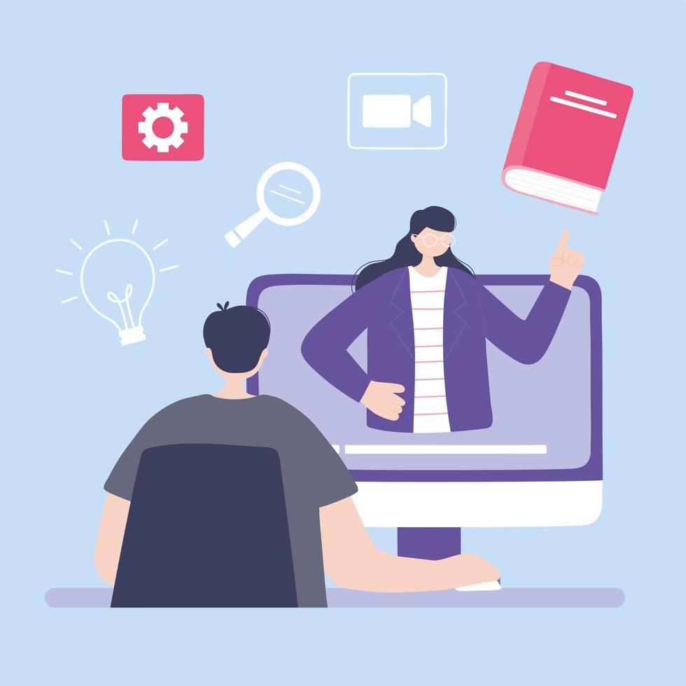 treinamento online via computador vetor