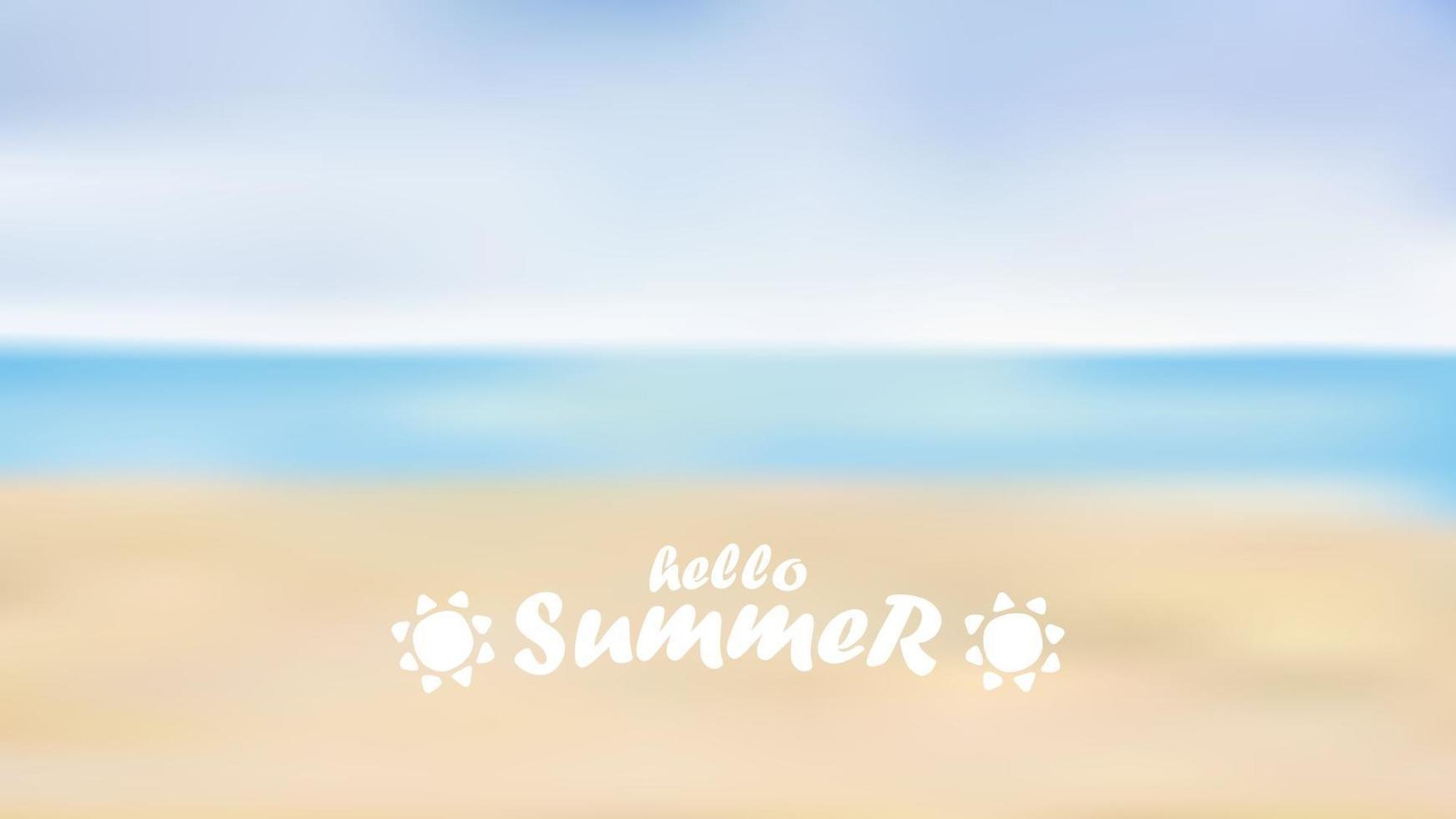 praia de verão turva, conceito de verão de fundo, ilustração vetorial vetor
