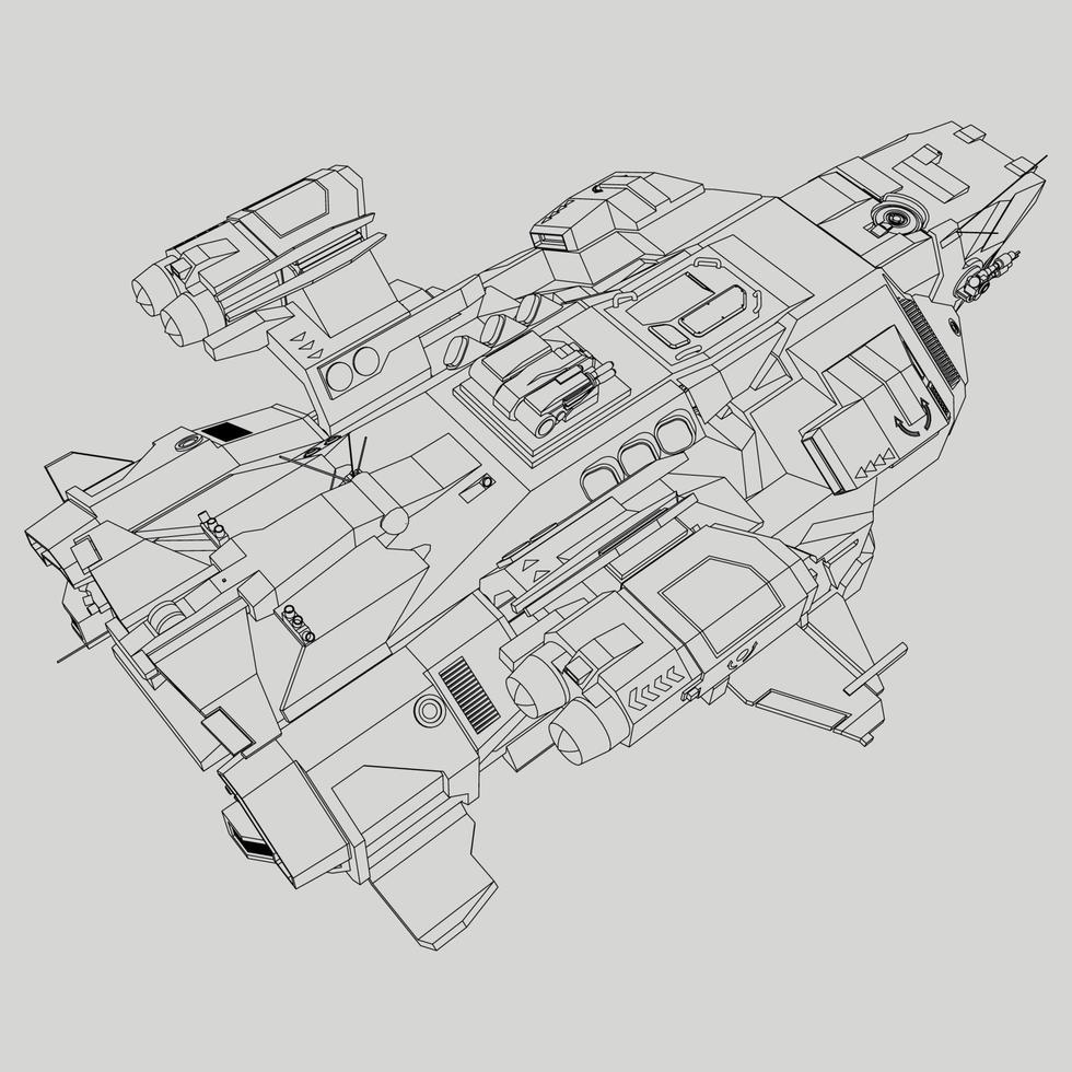 Lineart da nave vetor