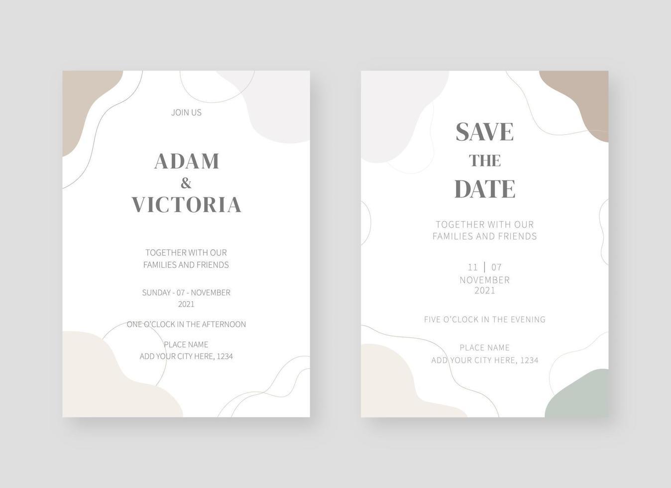 modelo de cartão de convite. conjunto de design de modelo de cartão de convite de casamento. fundo do projeto decorativo do vetor. vetor