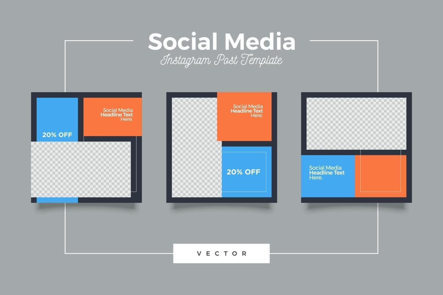 modelo de postagem de mídia social quadrada moderna vetor
