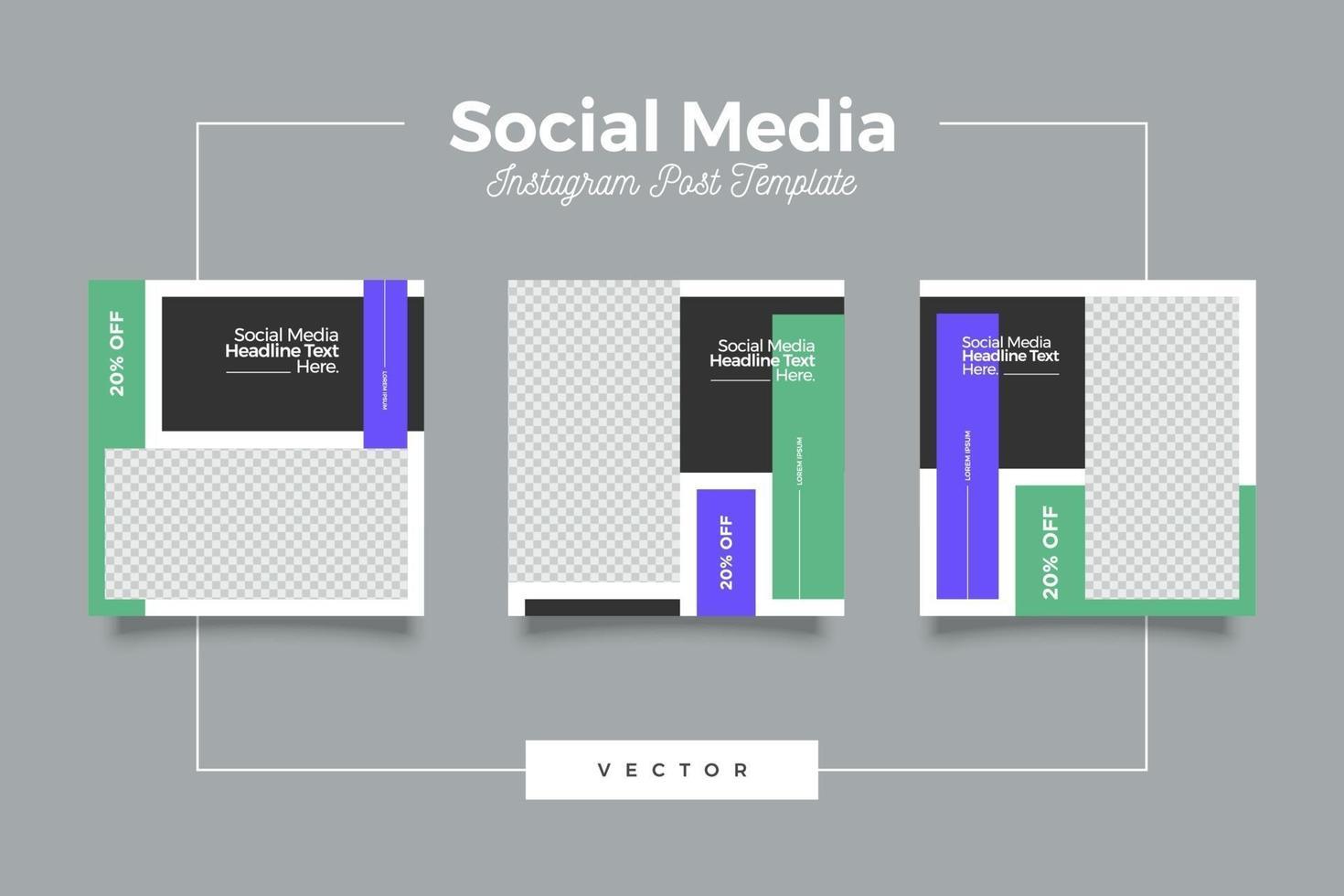 modelo de postagem de mídia social de marketing vetor