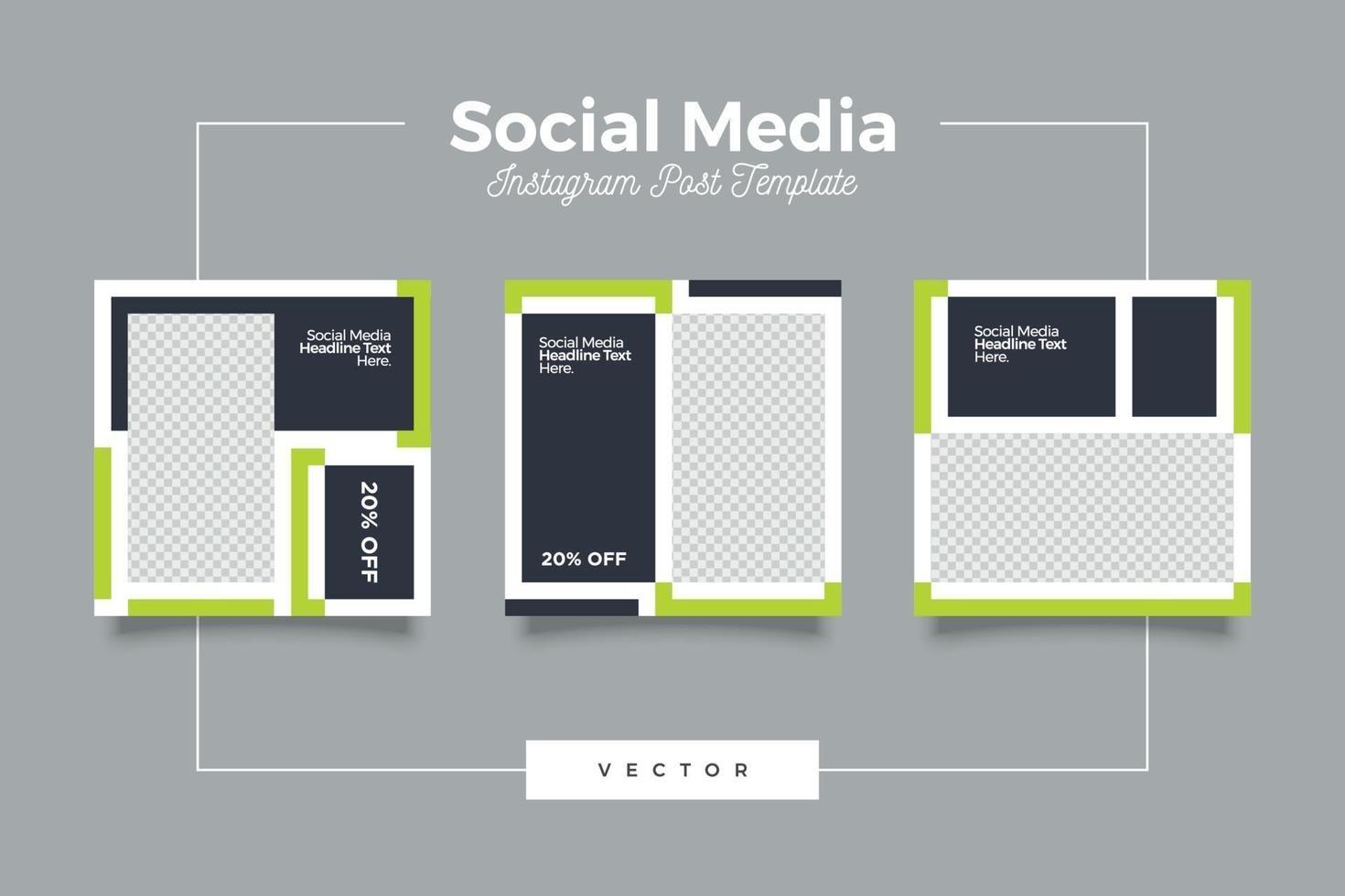 modelo de mídia social minimalista com tema verde e escuro vetor