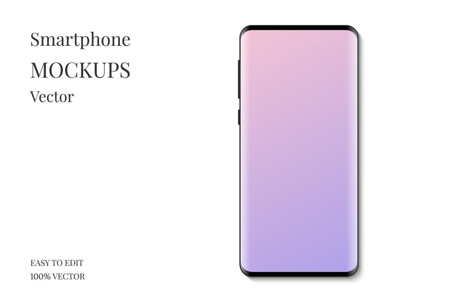 vetor de maquete de exibição de smartphone. smartphone com tela vazia. smartphone moderno isolado no fundo branco.