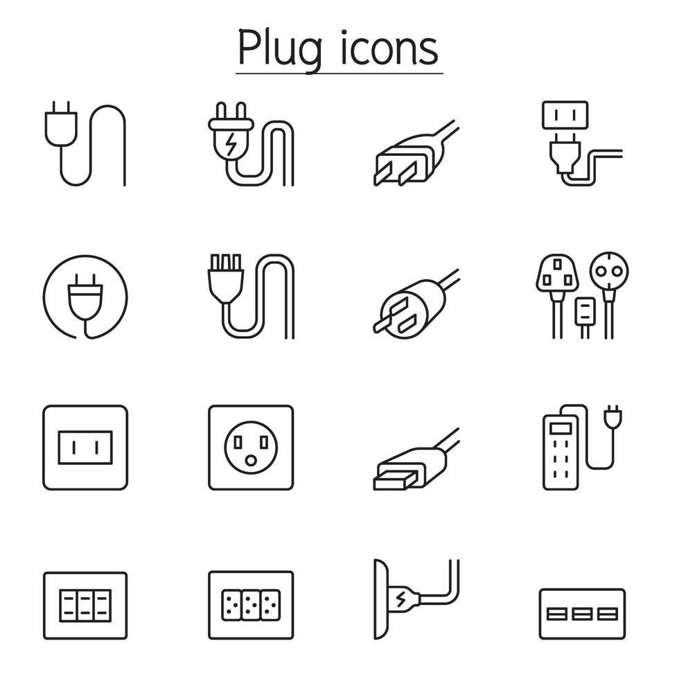 ícones de plugue, soquete e tomada definidos em estilo de linha fina vetor