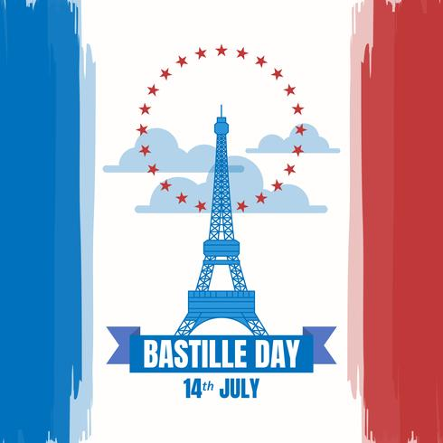 Dia da Bastilha da ilustração do dia nacional francês vetor