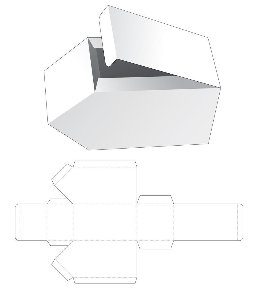 Molde para caixa de embalagem de canto chanfrado vetor