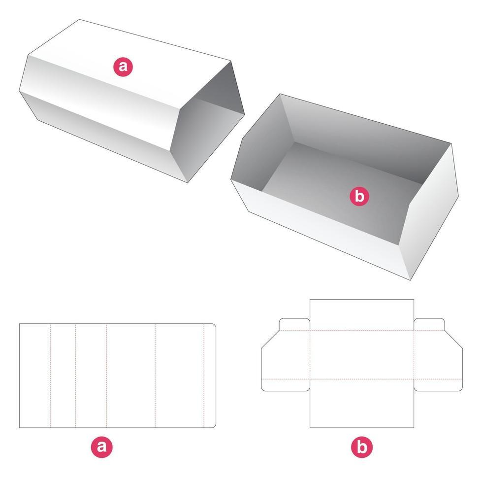 bandeja de papelão chanfrada com molde de tampa cortada vetor