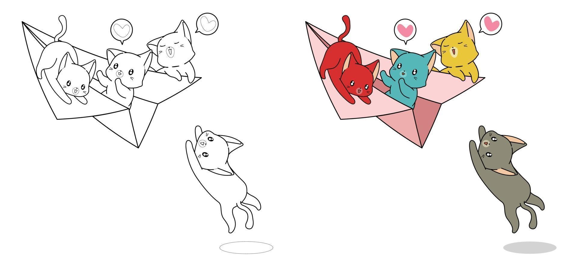 gatos estão brincando com desenhos de avião de papel para colorir facilmente para crianças vetor
