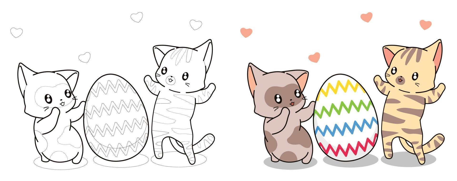 gatos bonitos e ovos na página de desenho animado do dia da Páscoa para crianças vetor