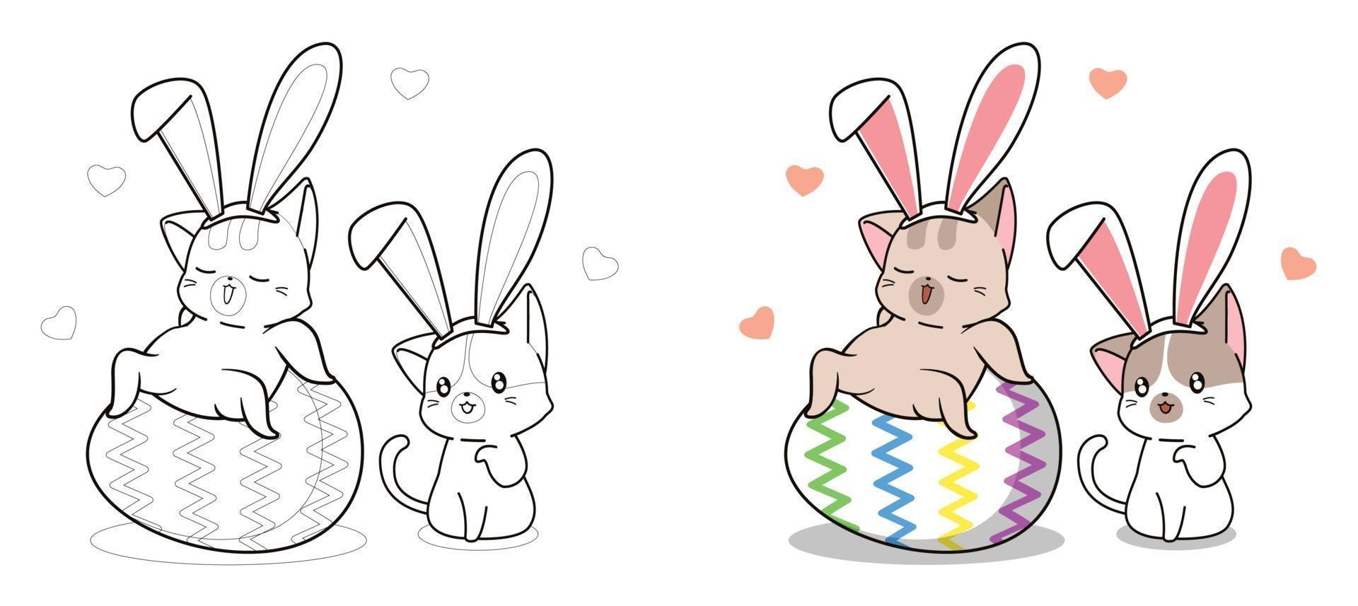 Página para colorir para crianças de gatos bonitos no dia da Páscoa vetor