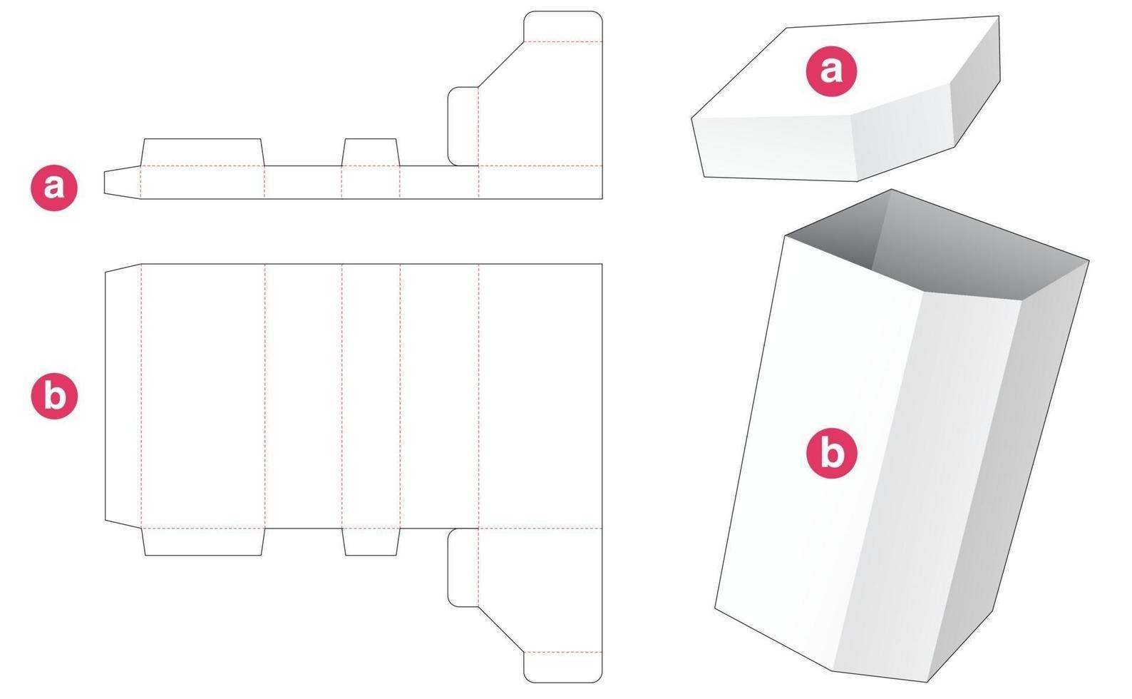 caixa alta chanfrada com molde de tampa cortada vetor
